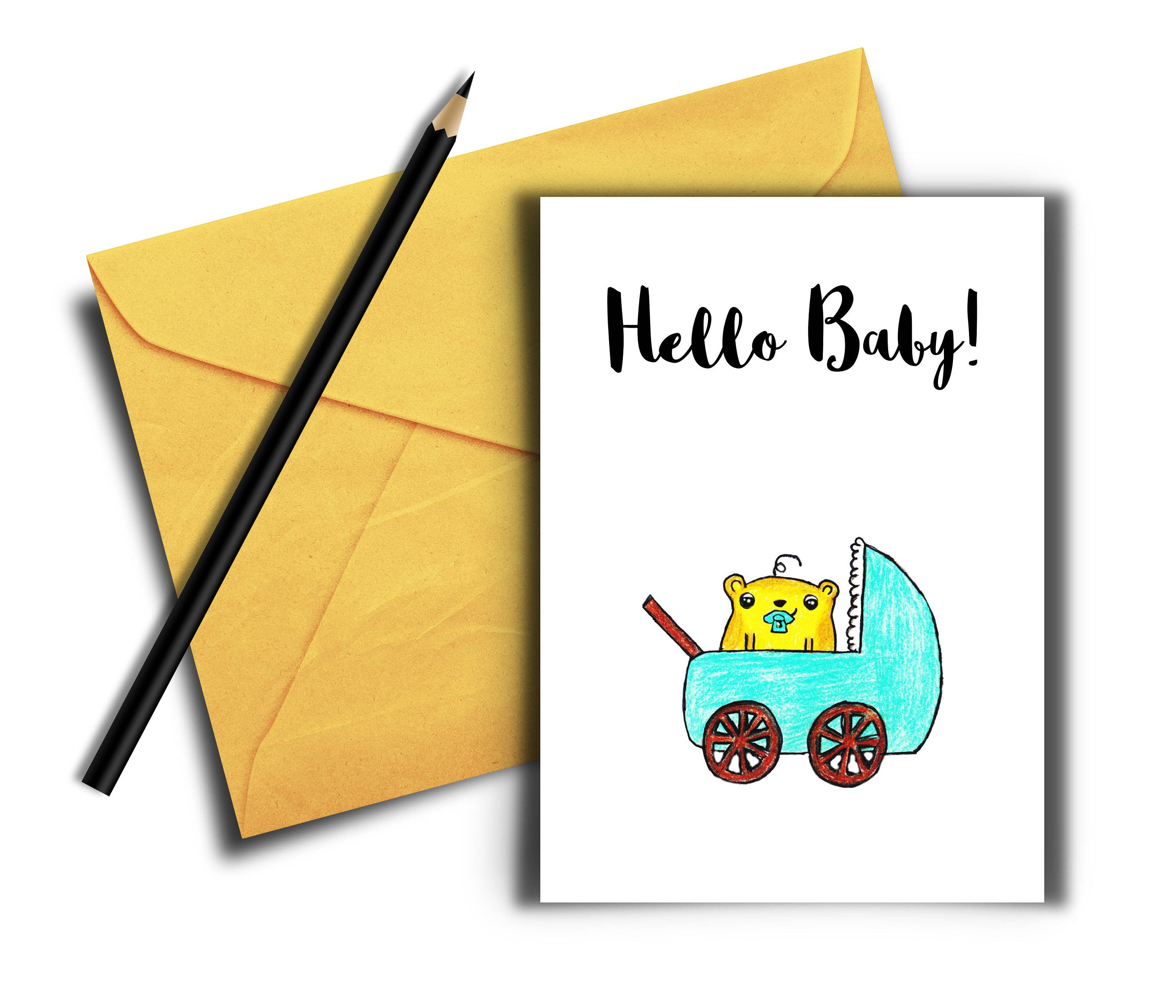 Hello Baby Card Welcome Baby Card Printable Card Digital Download