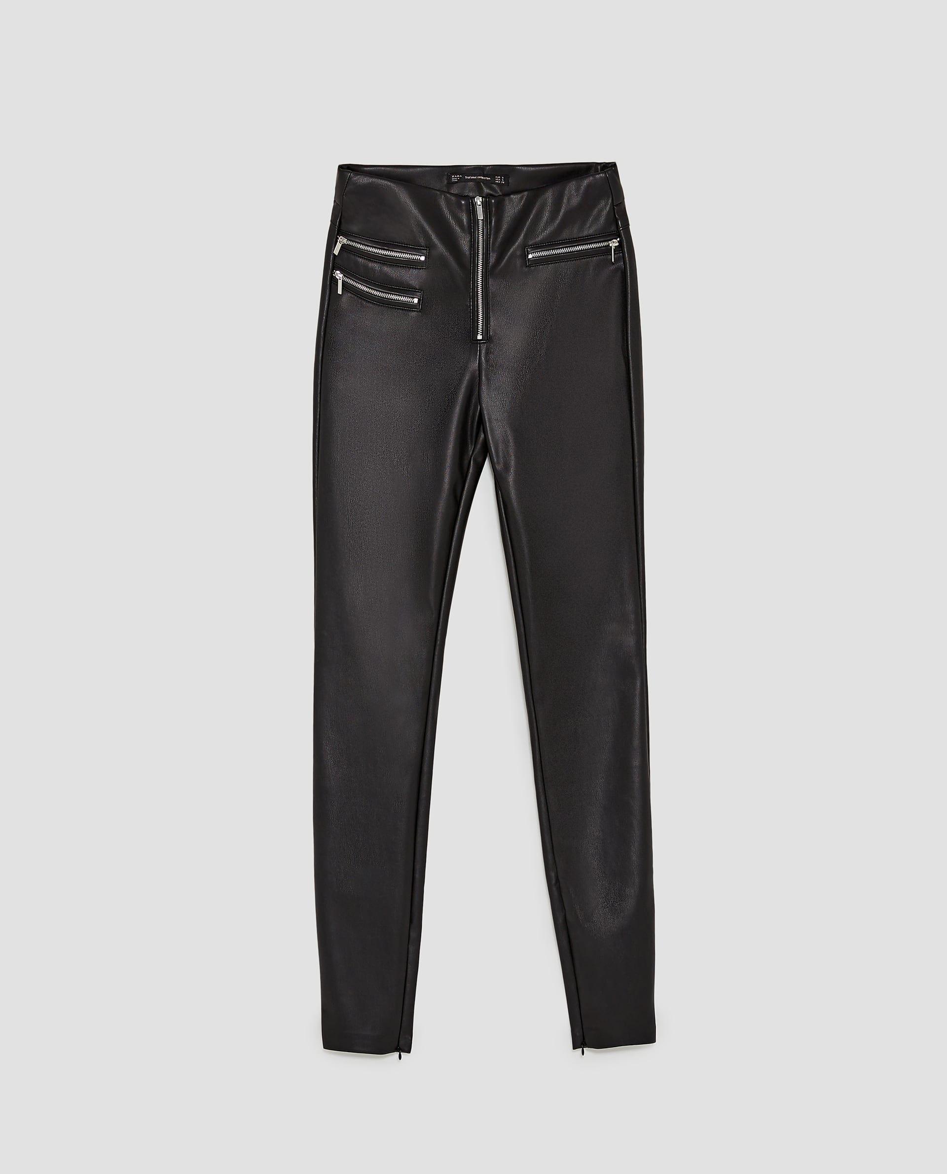 Zara Dan 6 Fermuarli Suni Deri Pantolon Resmi Deri Pantolonlar Pantolon Taytlar
