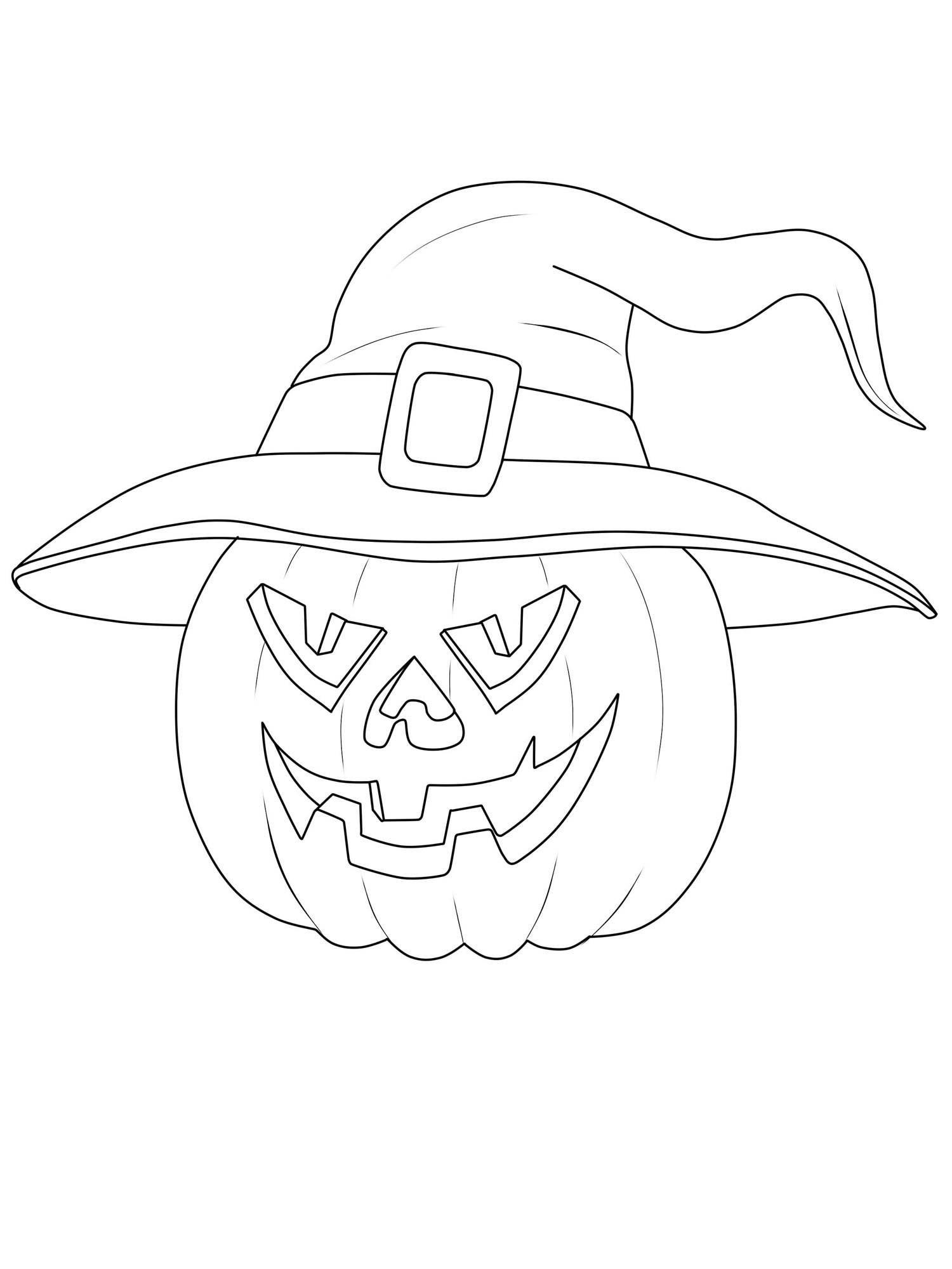 Ausmalbild Halloween: Kürbis-Hexe ausmalen kostenlos ausdrucken