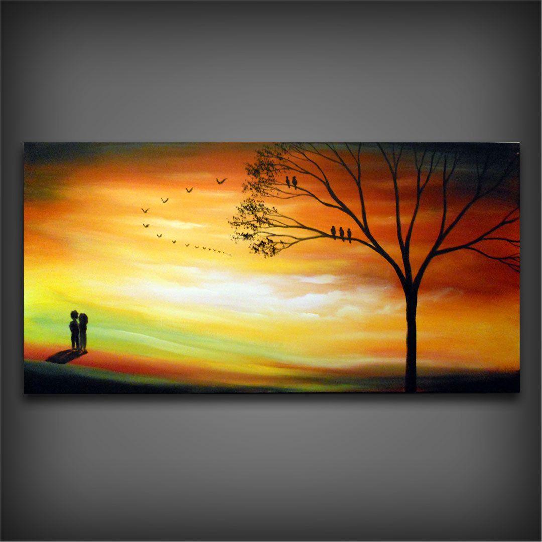 Autumn fall orange Landscape painting large acrylic tree original ...
