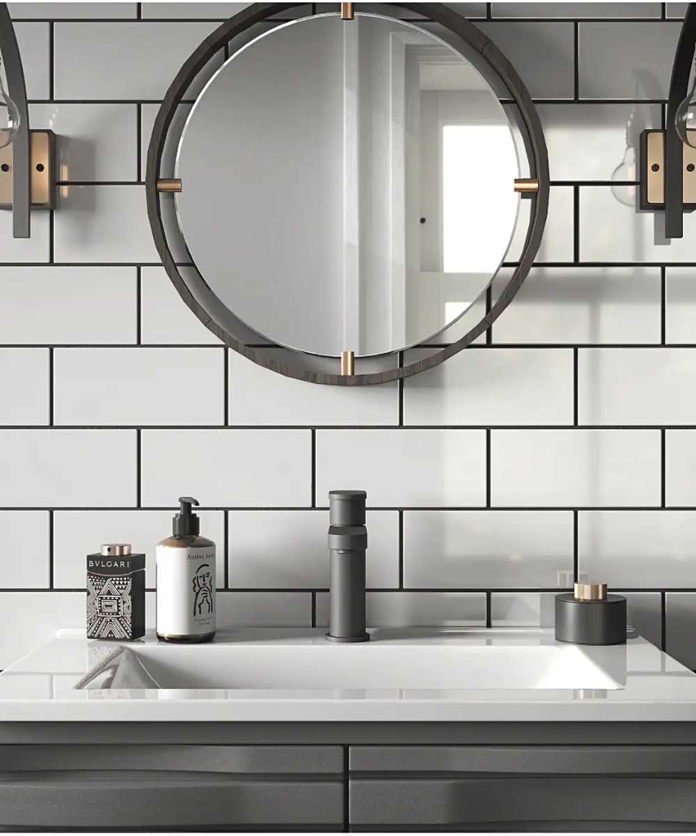 Matrix Diamond White Gloss Tile 10cm X 20cm In 2020 Round Mirror Bathroom Ceramic Wall Tiles White Ceramic Tiles