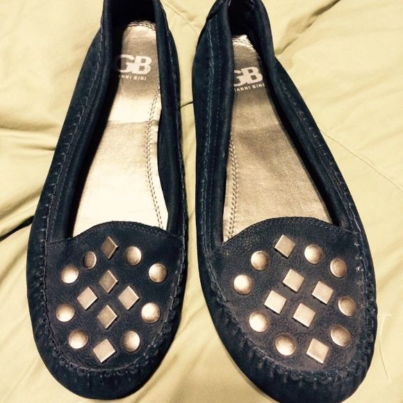 Navy suede loafers with studs Navy suede loafers with metal studs. Gianni Bini size 8.5M. Like new. Gianni Bini Shoes Flats & Loafers