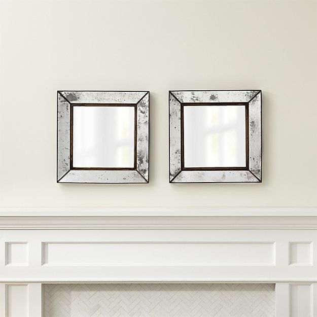 Set Of 2 Dubois Small Square Wall Mirrors Mirror Wall Rustic Wall Mirrors Mirror Wall Bedroom