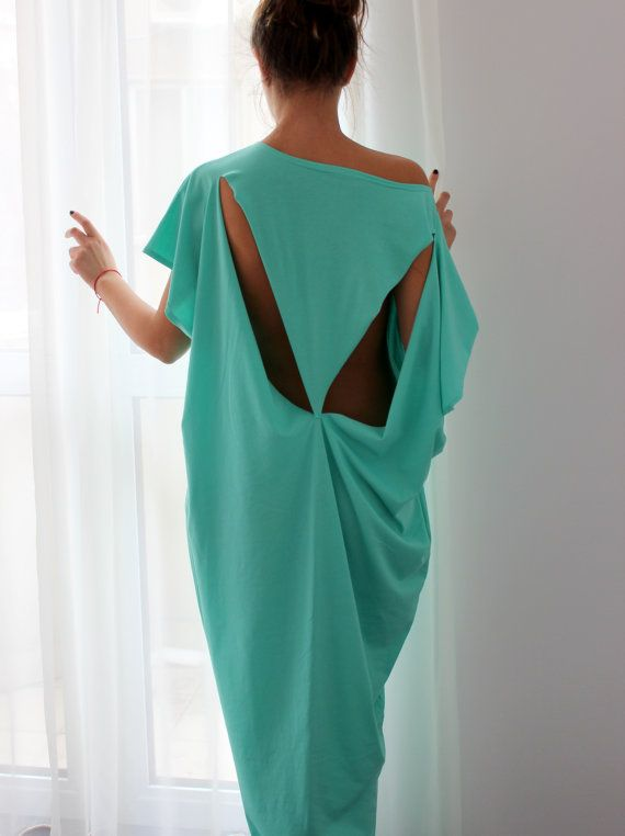Open Back Turquoise Open Back Maxi caftan dress Plus size Maxi Oversized Long Elastic Cotton Party Day Beach Casual Spring Summer Dress