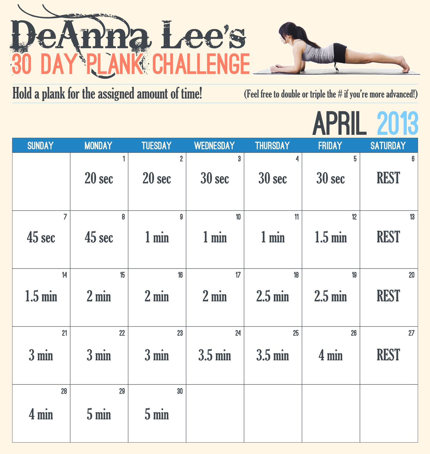 30 Day Plank Challenge  There is also a free app for this