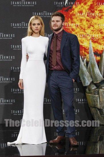 Nicola Peltz European premiere of 'Transformers Age of Extinction' White Long Evening Gowns