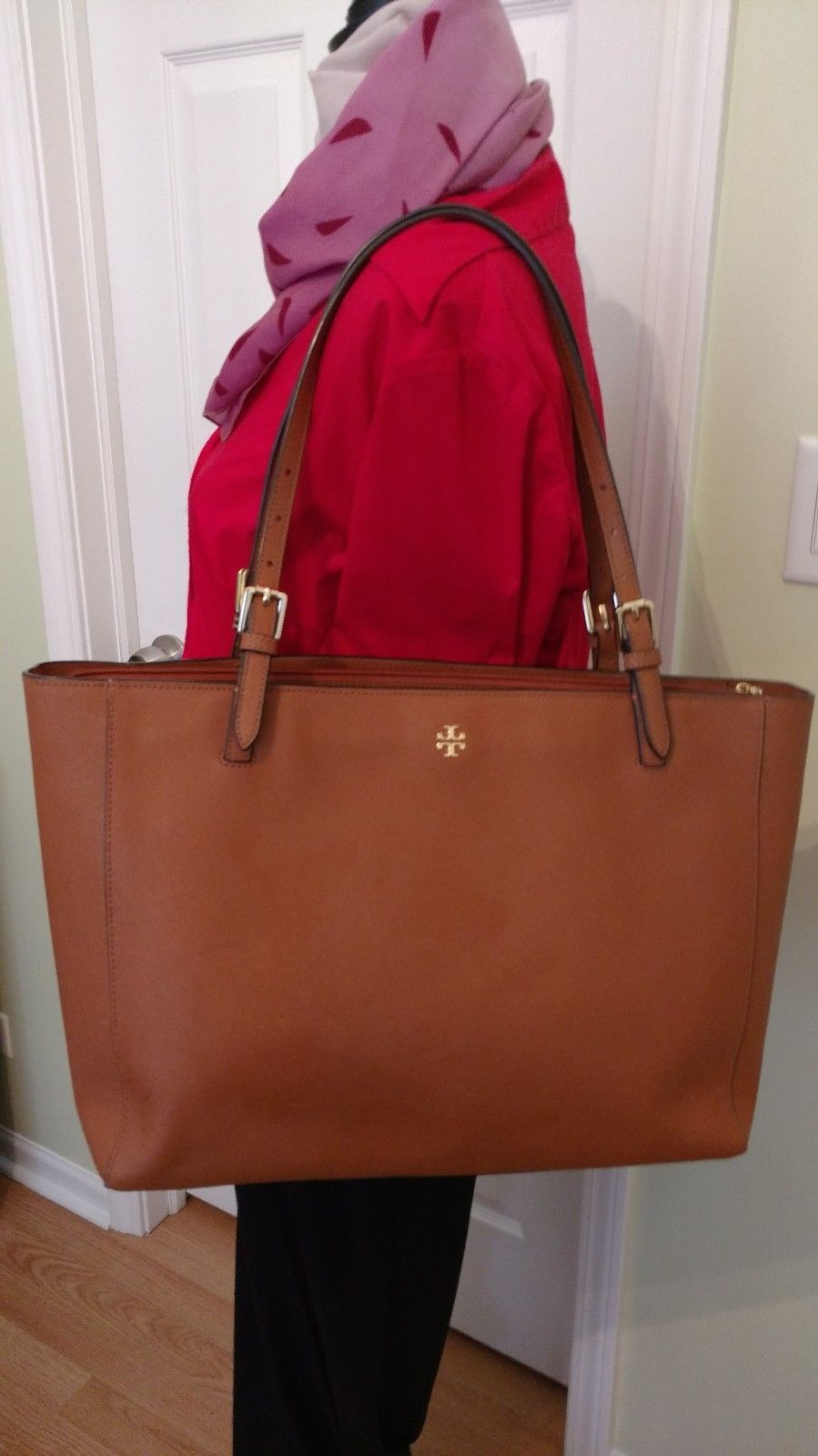 cee3a8d792cb Tory Burch Large York Buckle Tote in Luggage Brown Saffiano Leather MSRP   295