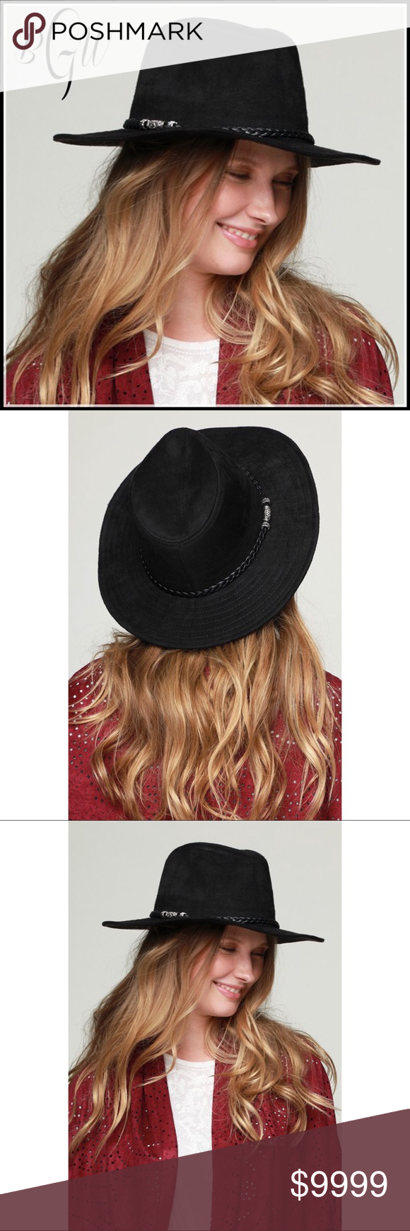 b2663d4ec38 🎄❄ 🆕5⭐️MUST HAVE Faux Suede Black Panama Hat Faux suede panama hat with  antique bead accented braided band  Beyond my expectations  just gorgeous  ...