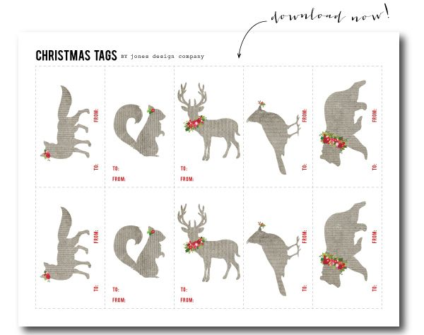 Free Download Woodland Christmas tags