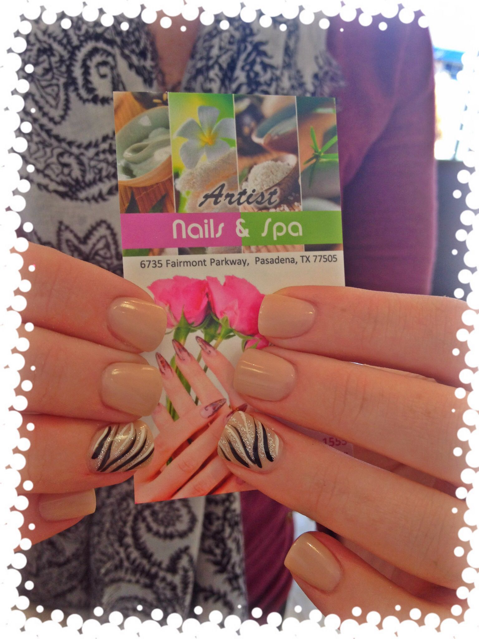 Nude nails with a zebra designs | ARTIST NAILS AND SPA | Pinterest ...