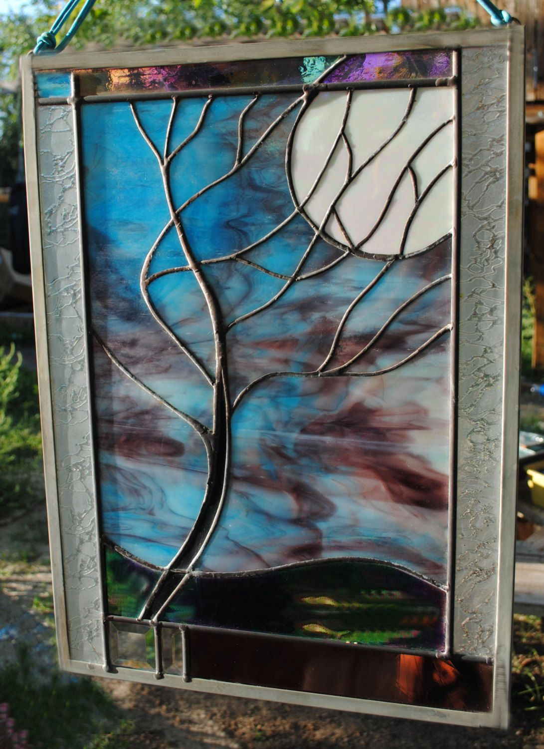Beach theme decoration stained glass window panels arts crafts - Stained Glass Window Panel Moonlit Tree By Stainedglassfusion 218 00