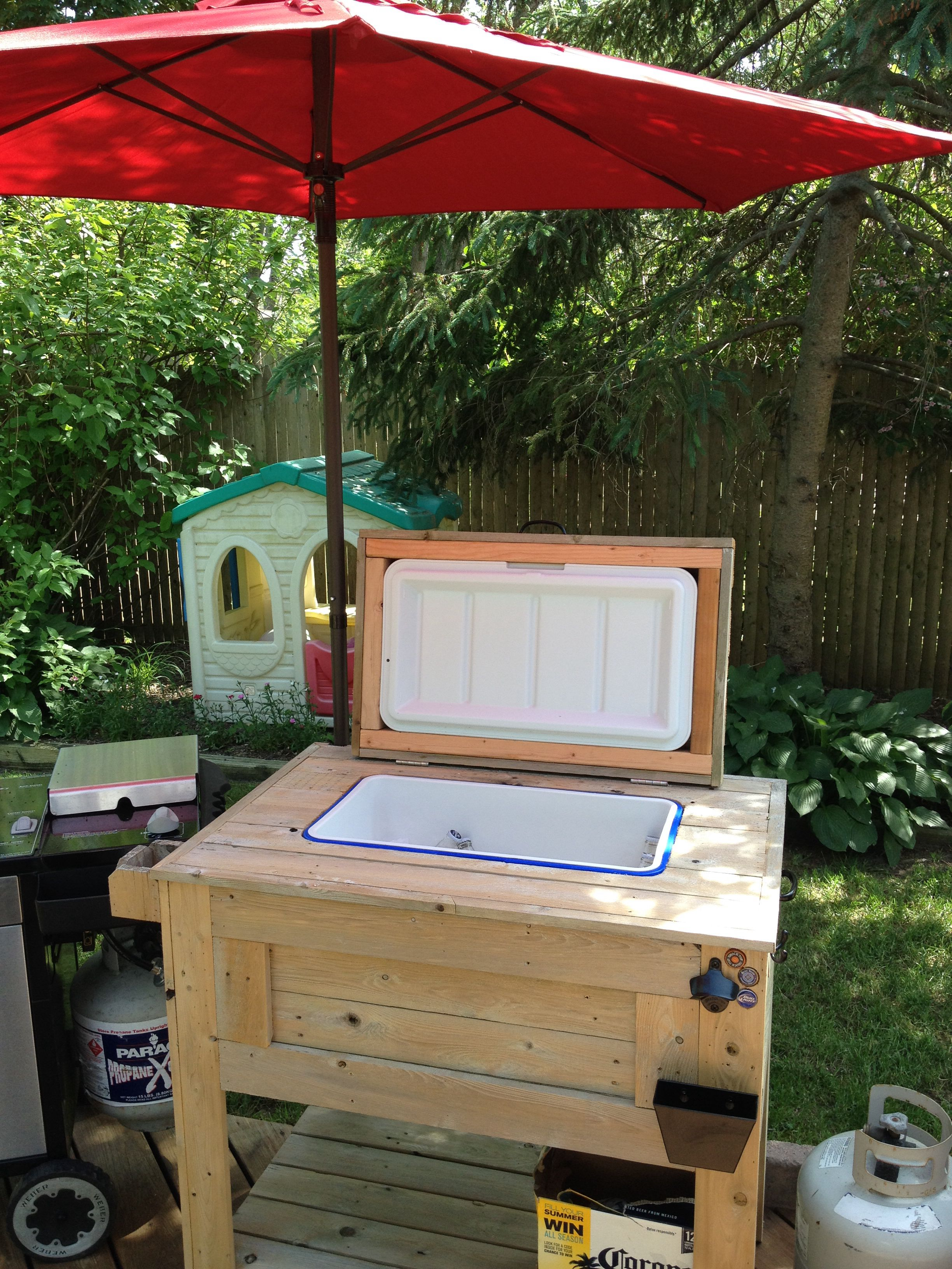 Backyard beer cooler Used a 48qt cooler and built around it with
