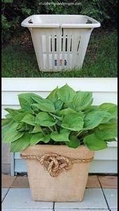 GartenIdeenAbfall zum des Projektes zu schätzen Alter Wäschekorb drehte Pf  DIY GArde GartenIdeenAbfall zum des Projektes zu schätzen Alter Wäschekorb...