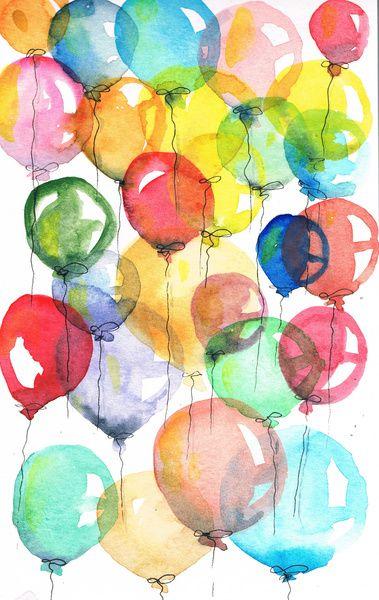 Balloons Art Print Balloon Painting Balloon Art