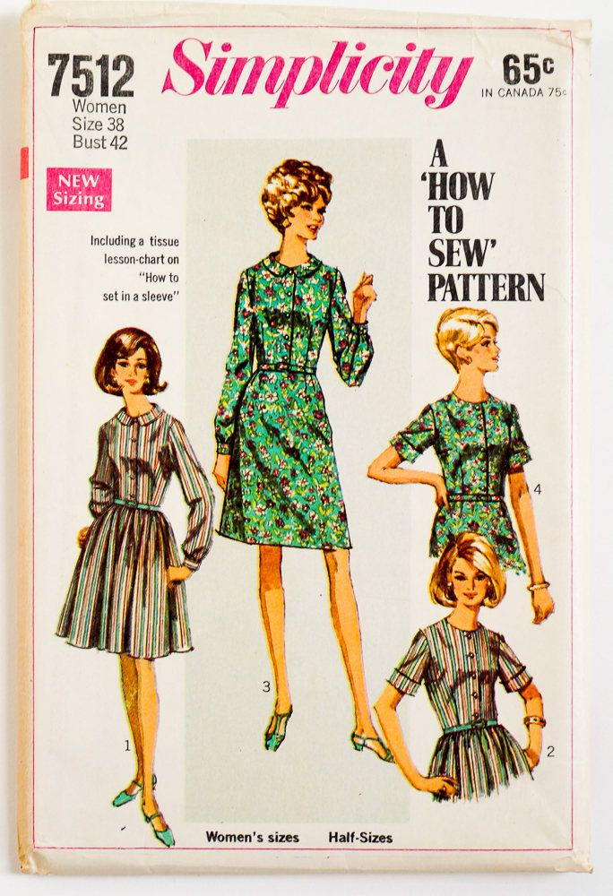 Vintage 1960s Womens Size 38 Shirtdress Simplicity Sewing Pattern ...