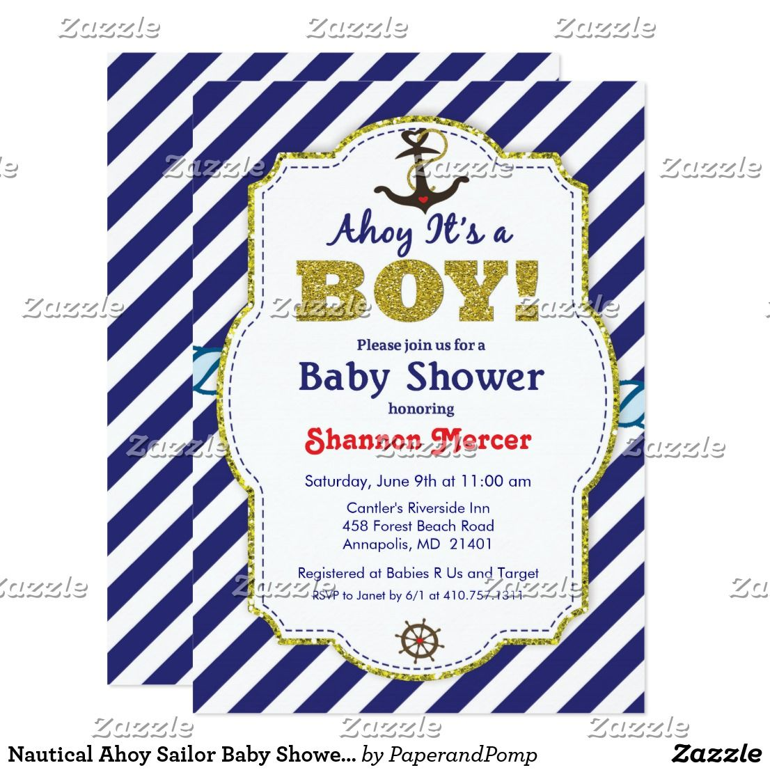 Nautical Ahoy Sailor Baby Shower Invitation | Sailor baby showers ...
