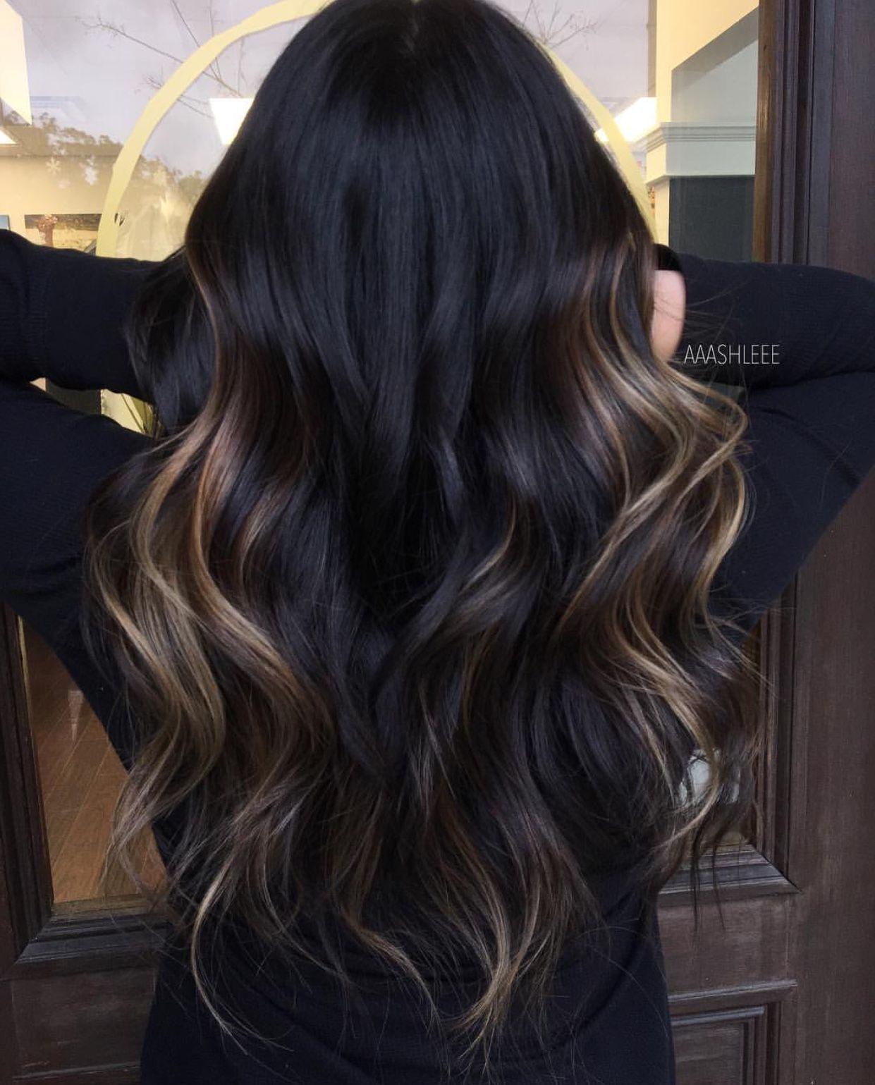 Dark Hair Caramel Highlights Hair Color Unique Black Hair Balayage Brown Hair Balayage