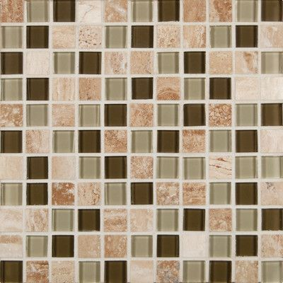 """MSI Pine Valley 1"""" x 1"""" Glass and Natural Stone Mosaic Tile in Multi"""