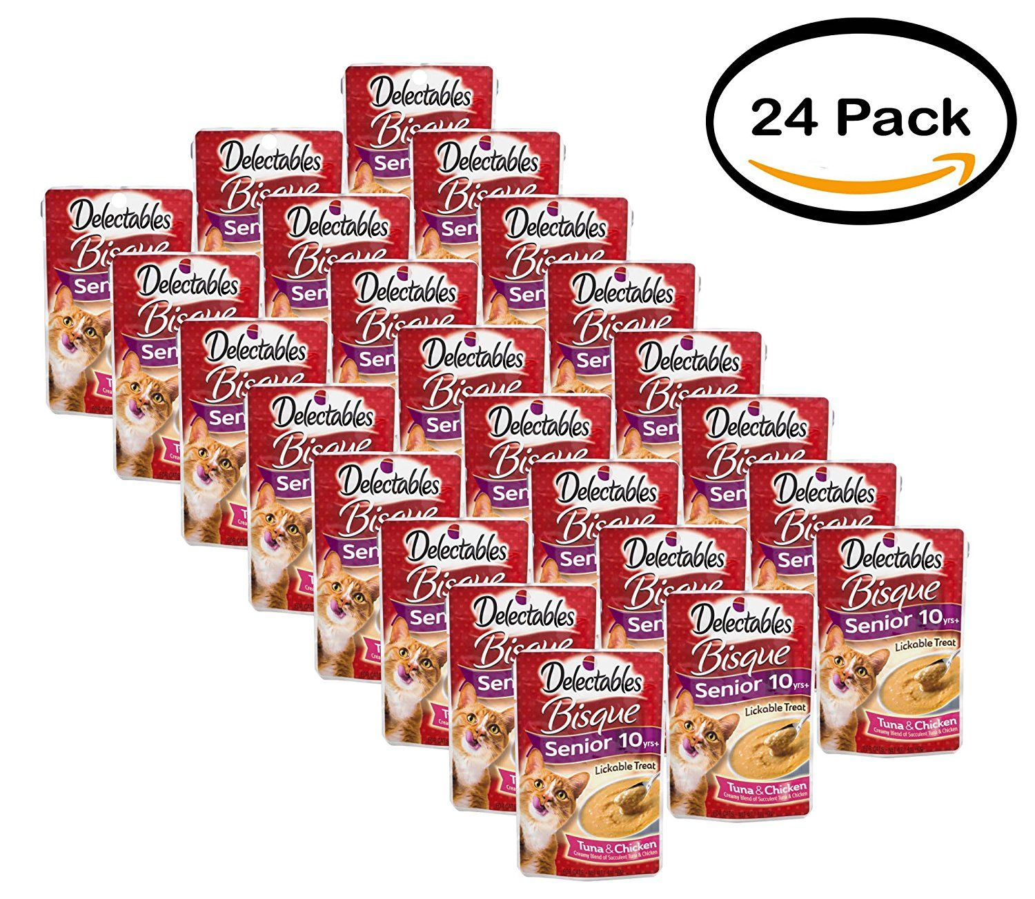 Pack of 24 delectables lickable treat bisque senior 10