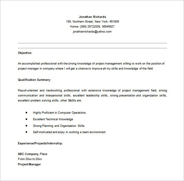 Entry Level Project Manager Resume in MS Word , Senior Project - resume building words