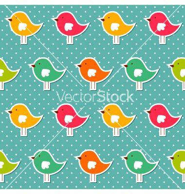 Seamless birds pattern vector on VectorStock®
