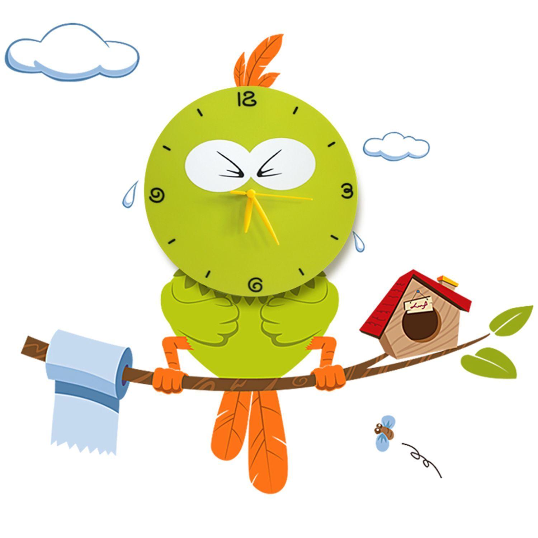 Vinilo decorativo con reloj 3D -ANGRY GREEN BIRD-   clock   Pinterest