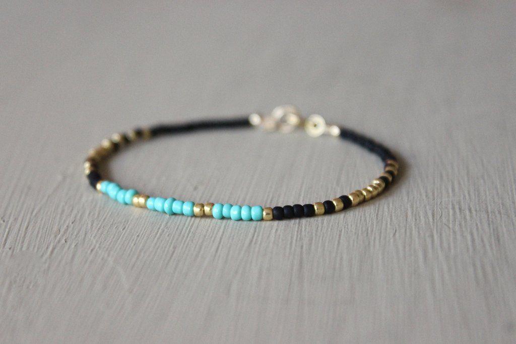 Turquoise, Black & Gold Bracelet - Designed By Lei