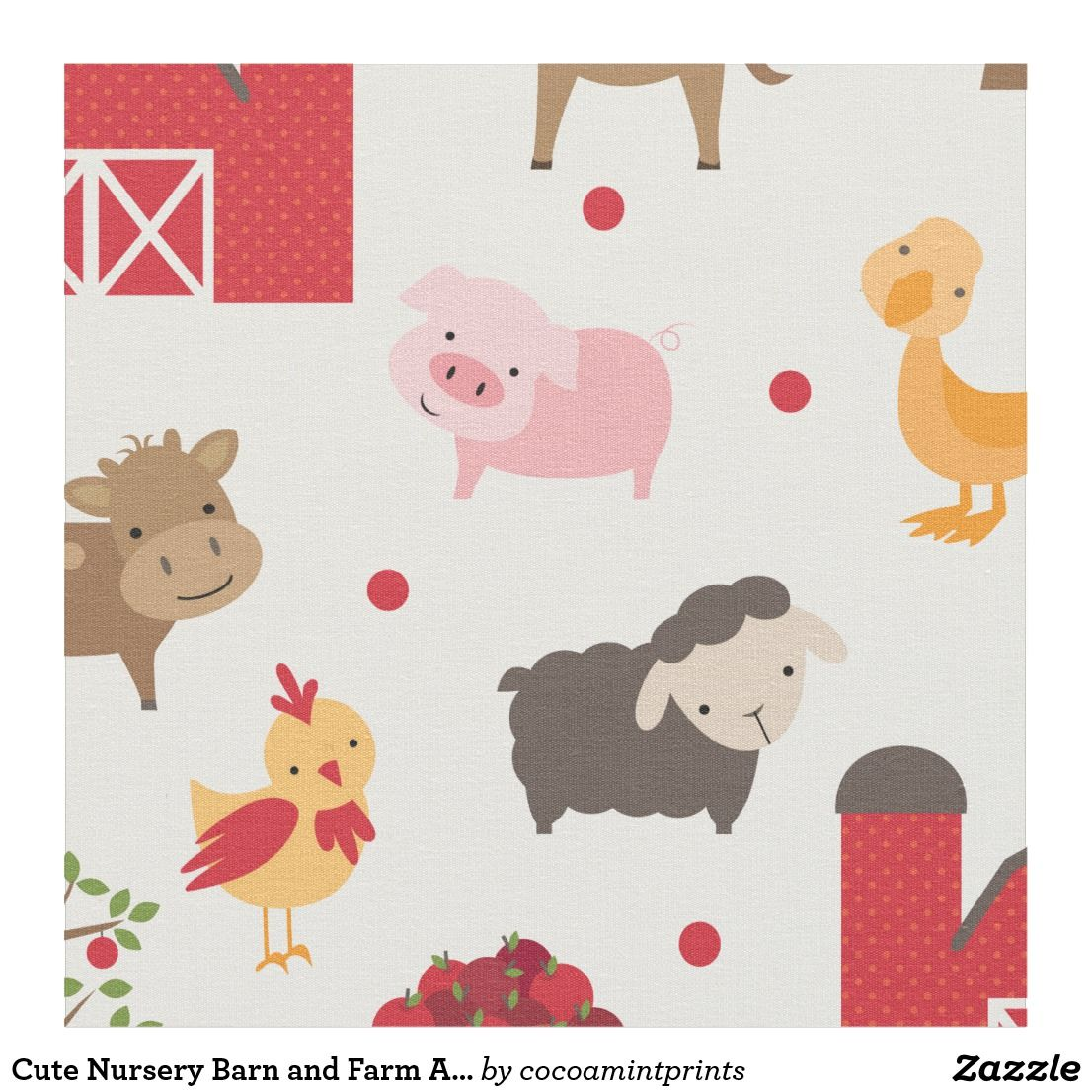 Nursery Barn And Farm Animals Fabric