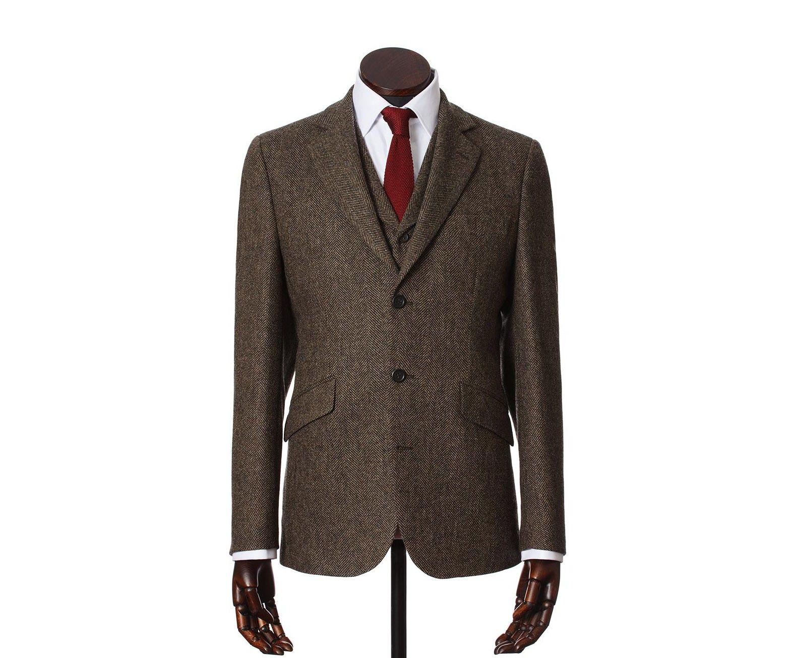 cea044088dd0 James Men's Tweed Suit Jacket in Brown Wide Herringbone Shetland Tweed -  Walker Slater