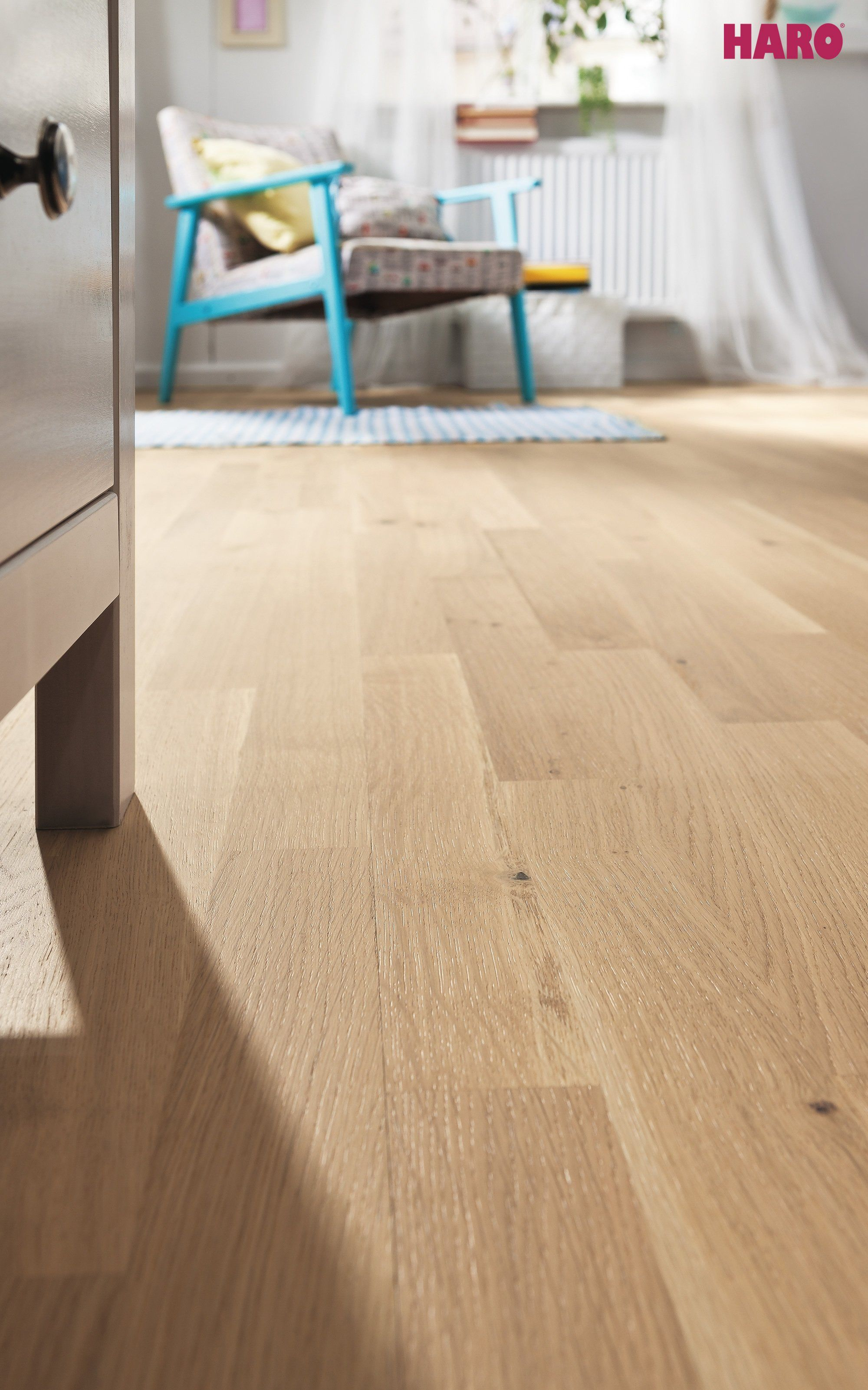 Oak Light White Engineered Timber Flooring by Haro