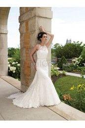 Organza Hand-Beaded Lace Bateau Neckline Softly Curved Bodice A-line Wedding Dress