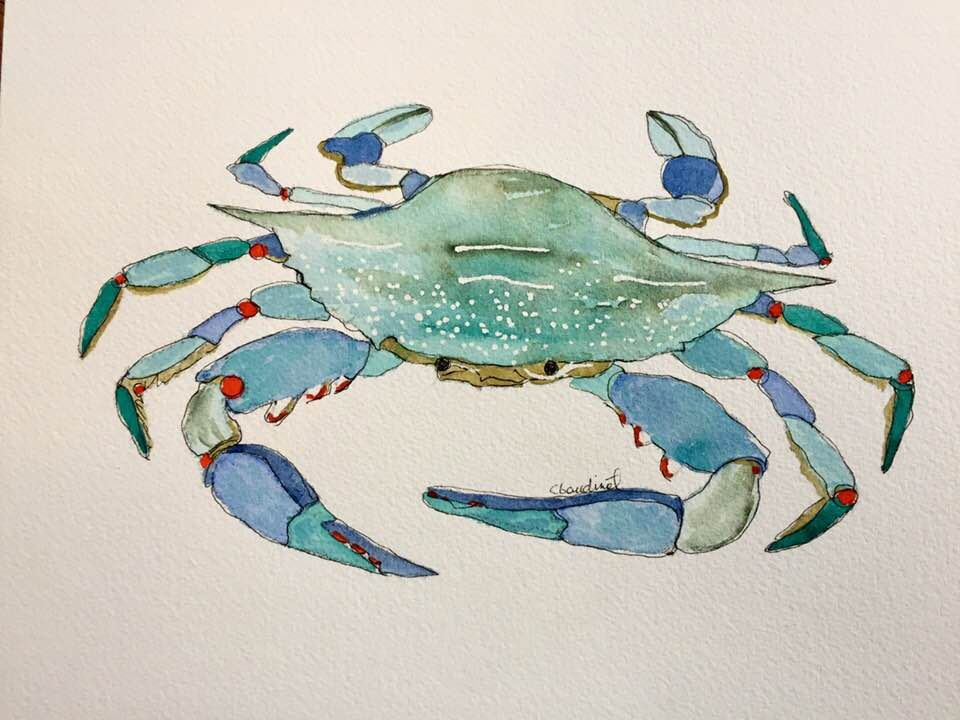 Watercolor Painting Of Atlantic Blue Crab Original Art Nautical