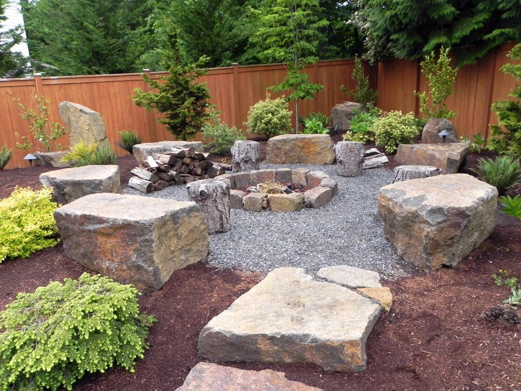 vegetable garden design with big rock boulders google on backyard fire pit landscaping id=13278