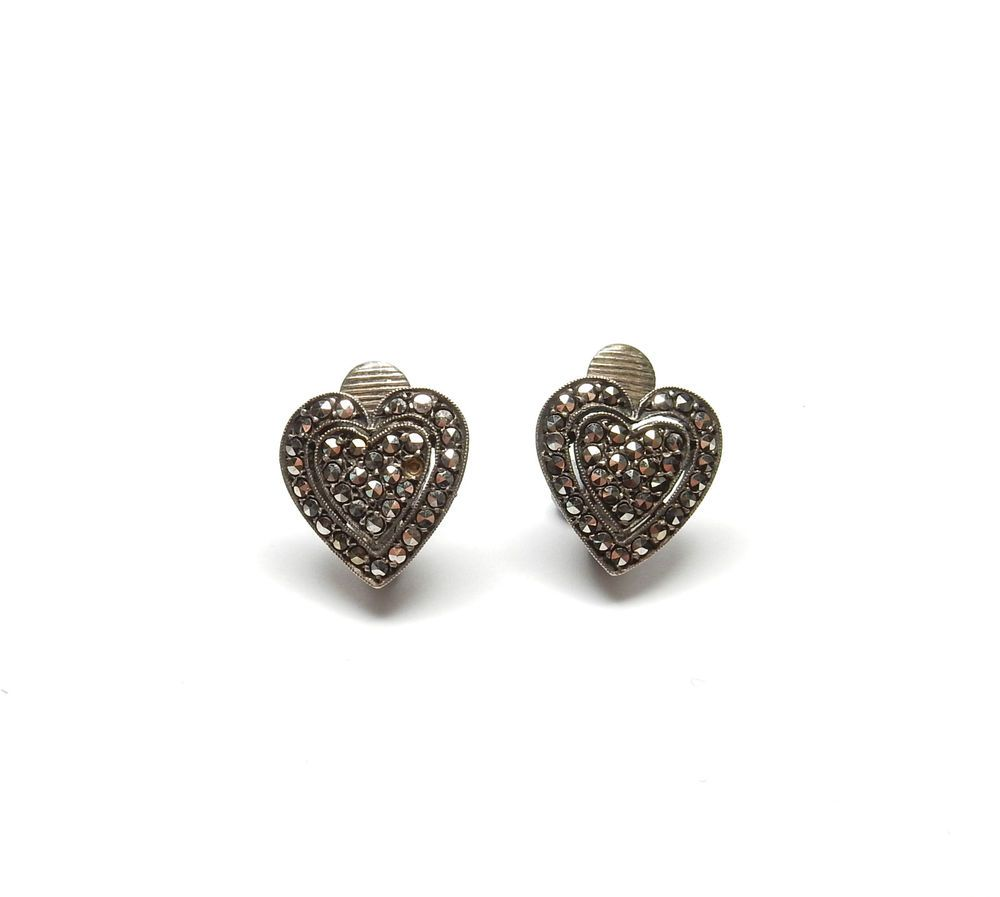Vintage 925 Sterling Silver Marcasite Set Love Heart Clip On Earrings 4 5g