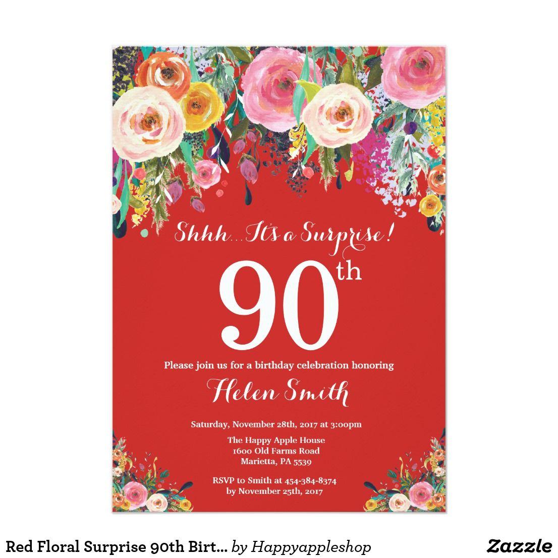 Red Floral Surprise 90th Birthday Invitation | Birthday Invitation ...