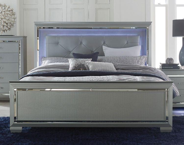 Homelegance Allura Bedroom Set With Led Lighting Silver B1916 1 Homelegance Elegancefurnituredirect Com Led Beds Upholstered Panel Bed Modern Bed