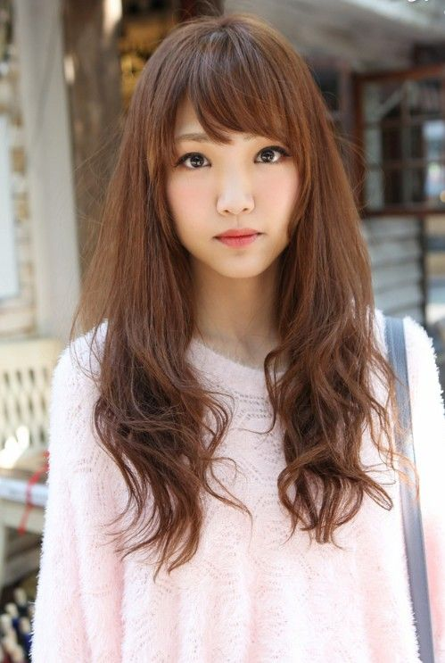 Cute Long Hairstyles Magnificent Cute Asian Long Hairstyle With Bangs  Pinterest  Bang Hairstyles