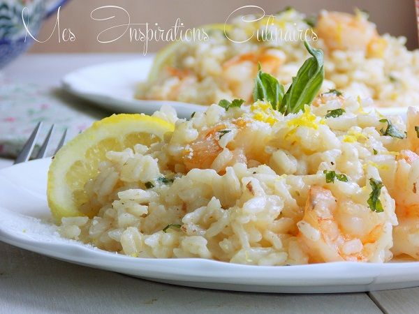 Risotto crémeux aux crevettes parmesan et Basilic
