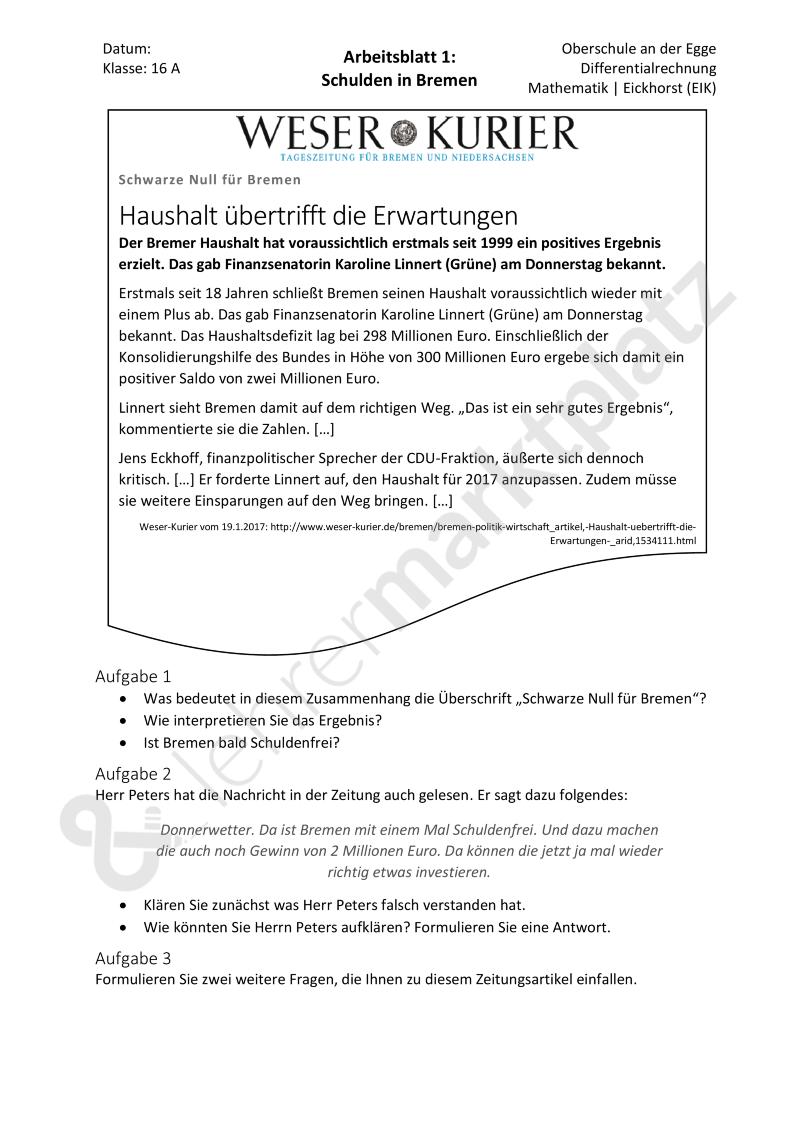 Differenzenquotient: Schuldenverlauf in Bremen   Kostenlose ...