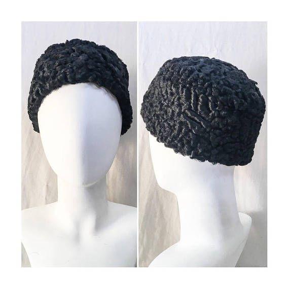 d4d5a13281212 Vintage Karakul Sheep Persian Lambs Wool Hat    Black Curly