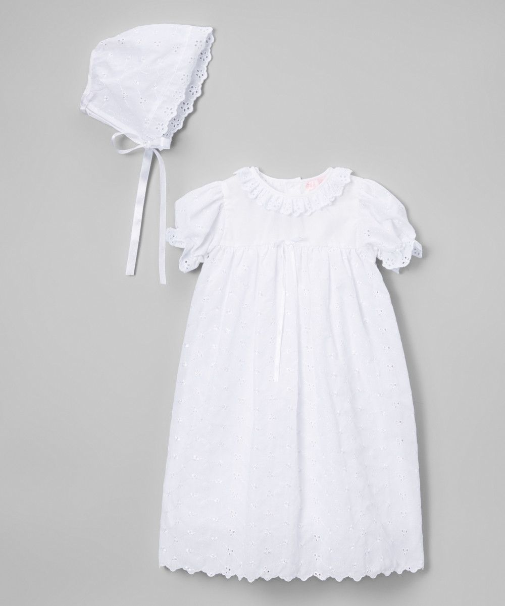 Petit Ami White Eyelet Christening Dress 3 6 9 12 Months