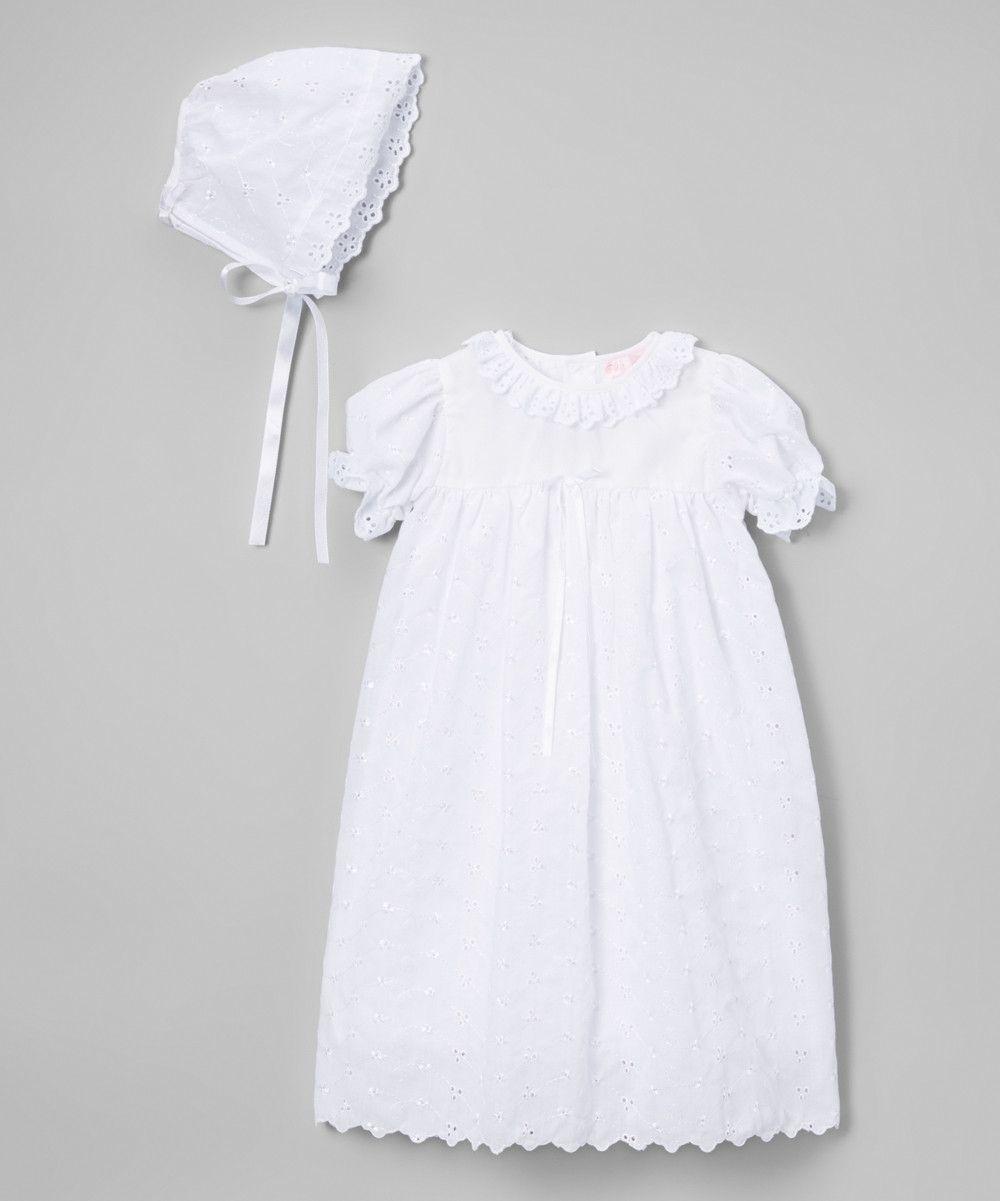 Petit Ami White Eyelet Christening Dress 3 6 9 12 Months