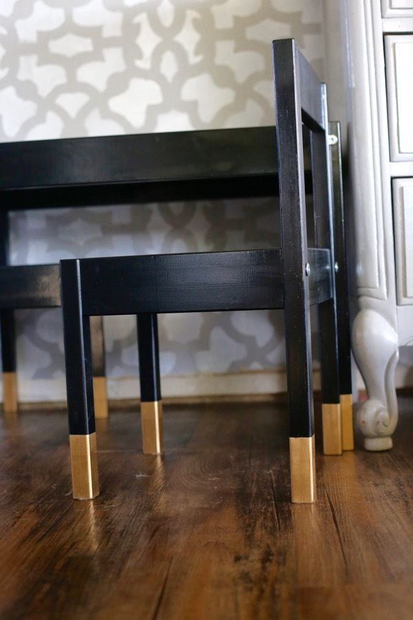 super simple and beautiful ikea latt children 39 s table hack painted black with gold dipped legs. Black Bedroom Furniture Sets. Home Design Ideas