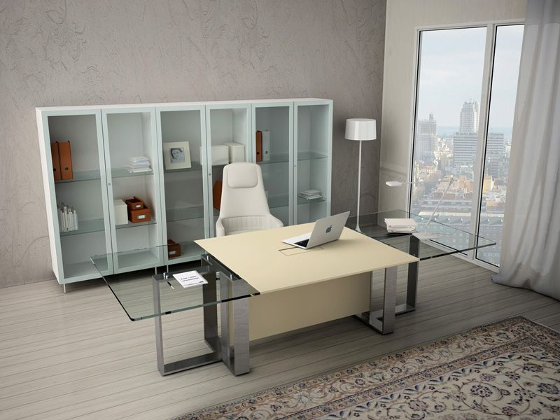 Estel Mobili ~ Glass and aluminium executive desk altagamma estel office line by