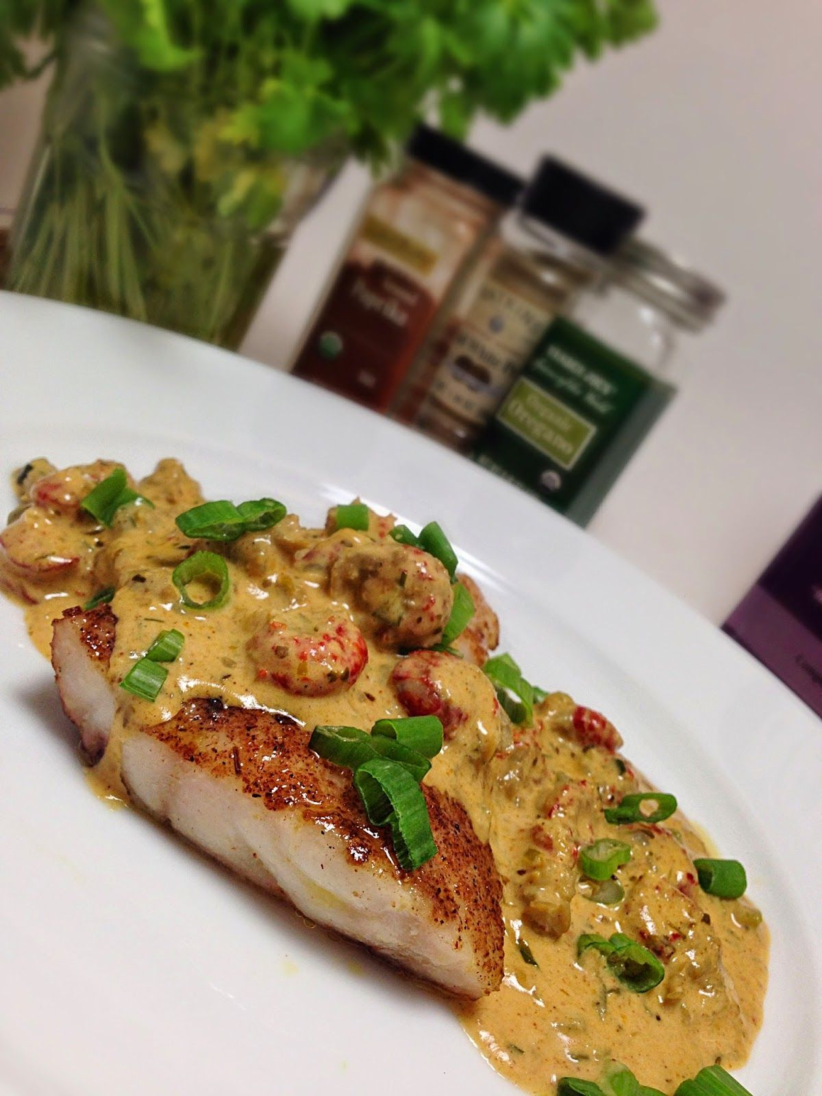 Yummy fixins blackened red snapper with crawfish cream for Sauce for fish