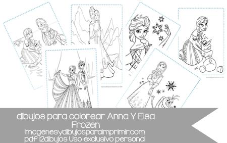 12 dibujos de Anna y elsa de frozen para colorear en pdf | Colorear ...