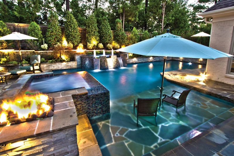 J Brownlee Pool Landscape tanning ledge chairs umbrella | Pool ...
