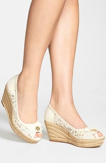 Lace creates a romantic tone to any outfit   'Jackie' Wedge Espadrille by Tory Burch - maybe minus the tory burch logo though.
