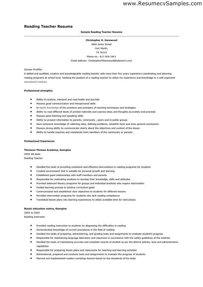 reading teacher resumes valuebook co