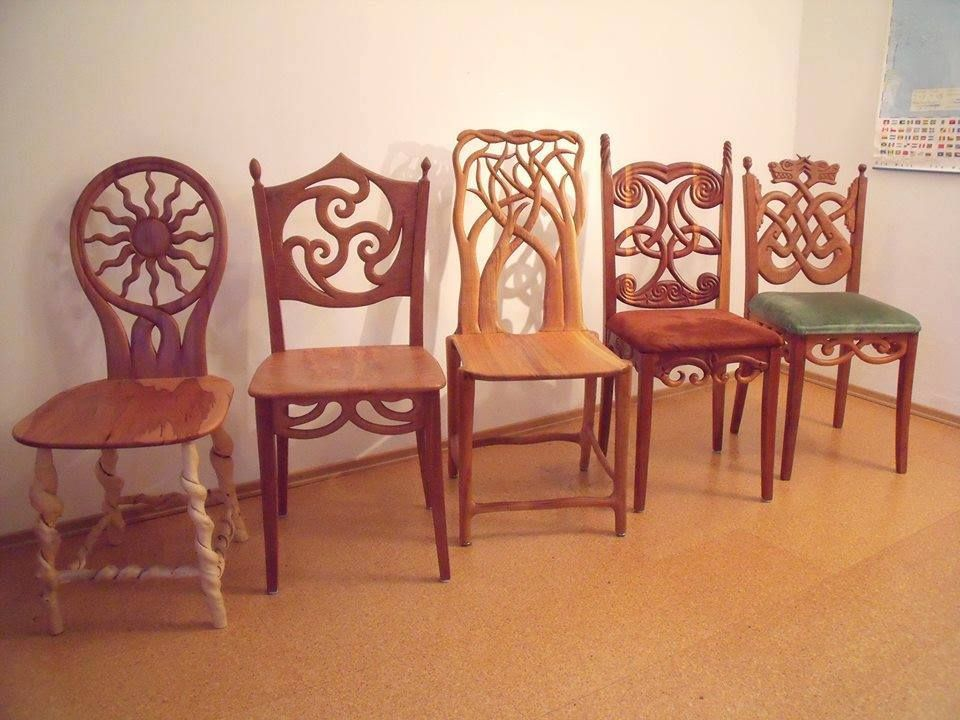 Carved Wood Chairs Celtic Decor Woodworking Decor